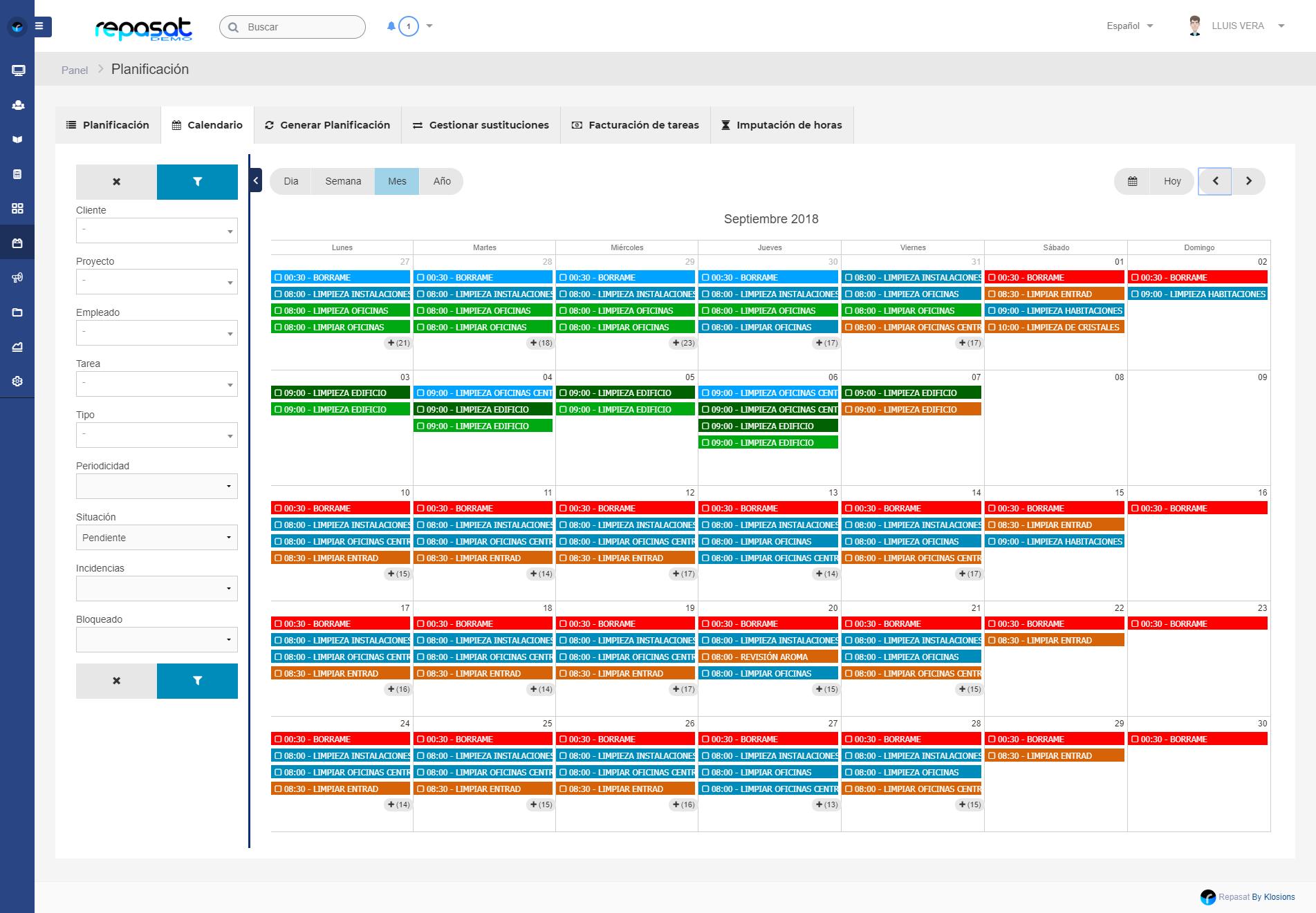 Calendario Repas.Software Para Empresas De Limpieza Y Servicios Repasat