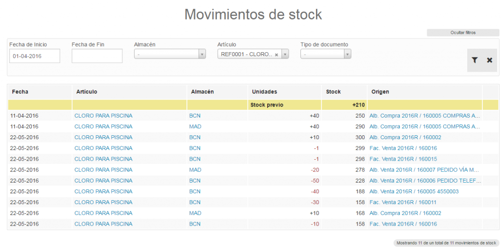 Repasat movimientos de stock e inventario