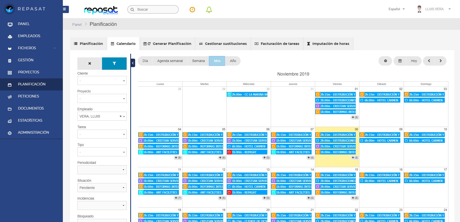 Repasat-Agentes Comerciales-Acciones comerciales Calendario