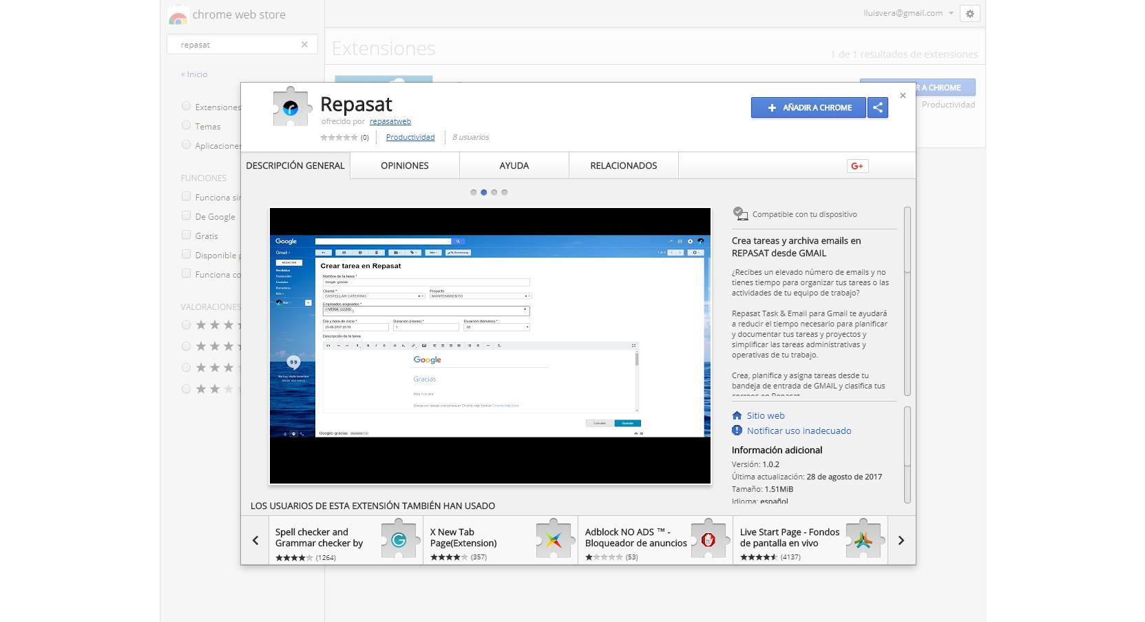 Repasat Integración CRM Gmail Chrome extension 1