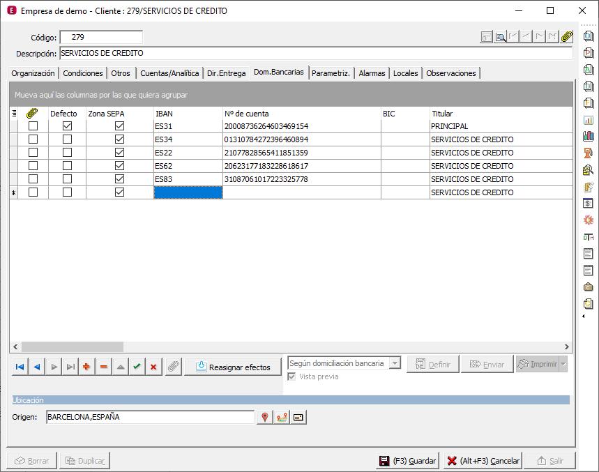 A3ERP añadir cuentas bancarias con Repasat2