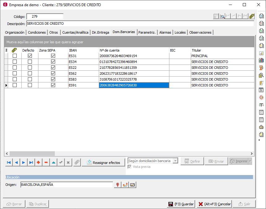 A3ERP añadir cuentas bancarias con Repasat3