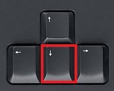 flecha abajo en el teclado